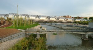 Arganzuela Bridge in Madrid (Spain). Projected by Dominique Perrault and built in 2011.